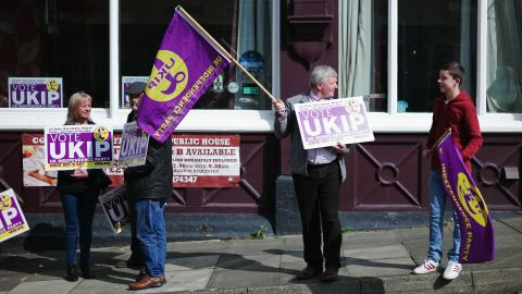 UK Independence Party supporters wait for the arrival of party leader Paul Nuttall in Hartlepool, England.