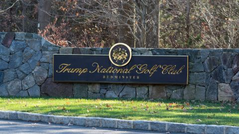 A sign on the stone wall greets visitors to the Trump National Golf Club on November 18, 2016 in Bedminster Township, New Jersey.   / AFP / DON EMMERT        (Photo credit should read DON EMMERT/AFP/Getty Images)