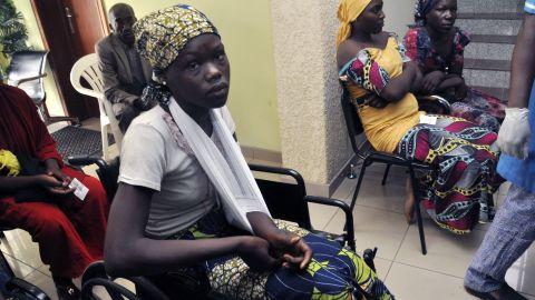 Chibok school girls recently freed from Boko Haram captivity are seen in Abuja, Nigeria, Sunday, May 7, 2017.