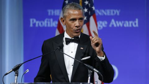 """WASHINGTON, DC - MAY 7:  Former U.S. President Barack Obama speaks after receiving the 2017 John F. Kennedy Profile In Courage Award from Caroline Kennedy at the John F. Kennedy Library May 7, 2017 in Boston, Massachusetts. Obama was honored for """"his enduring commitment to democratic ideals and elevating the standard of political courage in a new century,"""" with specific mention of his expansion of healthcare options, his leadership on confronting climate change and his restoration of diplomatic relations with Cuba.  (Photo by CJ Gunther-Pool/Getty Images)"""