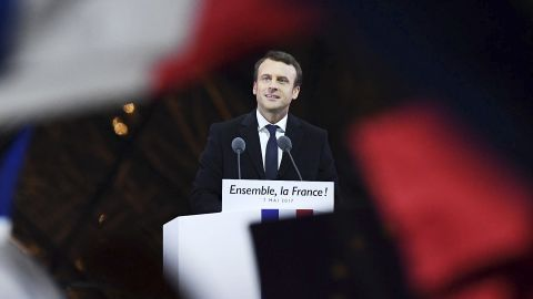 Leader of 'En Marche !' Emmanuel Macron addresses supporters after winning the French Presidential Election, at The Louvre on May 7, 2017 in Paris, France. Pro-EU centrist Macron is the next president of France after defeating far right rival Marine Le Pen by a comfortable margin, estimates indicate.
