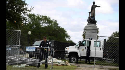 Barricades go up as the removal of a Jefferson Davis monument begins in May in New Orleans.