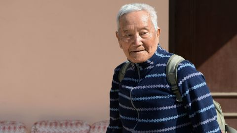 In this photograph taken on February 10, 2017, Nepalese mountaineer Min Bahadur Sherchan walks during an interview with AFP in Kathmandu. An 85-year-old former Gurkha is making a bid to reclaim his title as the world's oldest person to summit Mount Everest. A Guinness World Record certificate hangs proudly in Min Bahadur Sherchan's Kathmandu home and by the end of this year's spring climbing season he hopes to have a second one hanging next to it.  / AFP / Prakash MATHEMA        (Photo credit should read PRAKASH MATHEMA/AFP/Getty Images)