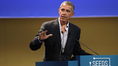 """United States former President Barack Obama talks during the """"Seeds&Chips - Global Food Innovation"""" summit, in Milan, Tuesday, May 9."""