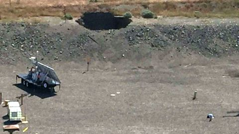 A hole in the roof of a tunnel that collapsed at the Hanford nuclear site in Washington state on Tuesday.