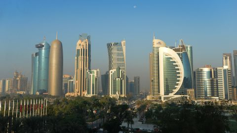 DOHA, QATAR - NOVEMBER 17: The Doha Skyline at sunrise on the fifth day of the 21st ANOC General Assembly at the Sheraton Grand Hotel on November 17, 2016 in Doha, Qatar. (Photo by Mark Runnacles/Getty Images for ANOC)