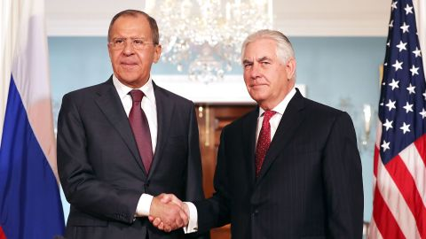 Russian Foreign Minister Sergey Lavrov and U.S. Secretary of State Rex Tillerson shake hands in the Treaty Room before heading into meetings at the State Department May 10, 2017 in Washington, DC.