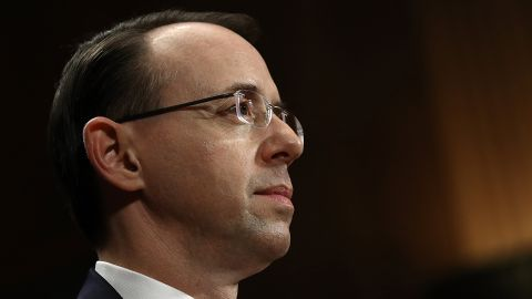 WASHINGTON, DC - MARCH 07:  Deputy U.S. Attorney General nominee Rod Rosenstein is sworn in prior to testimony before the Senate Judiciary Committee March 7, 2017 in Washington, DC. During the hearing, Democratic senators pressed Rosenstein to appoint a special prosecutor in an ongoing federal inquiry into Russian influence in the U.S. presidential election.  (Photo by Win McNamee/Getty Images)