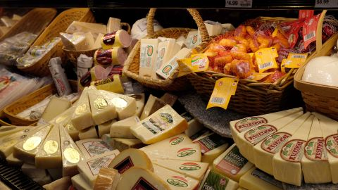 """Another dairy product, cheese, comes in fifth place with 9.8 kg of emissions per kg produced. """"Our list is a an average of several common cheeses,"""" explains Sujatha Bergen, """"Cheeses that require refrigerated transport or are flown in from abroad, however, tend to have higher climate impacts."""""""