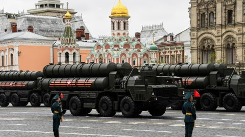 Russian S-400 Triumph medium-range and long-range surface-to-air missile systems ride through Red Square during the Victory Day military parade in Moscow on May 9, 2017.