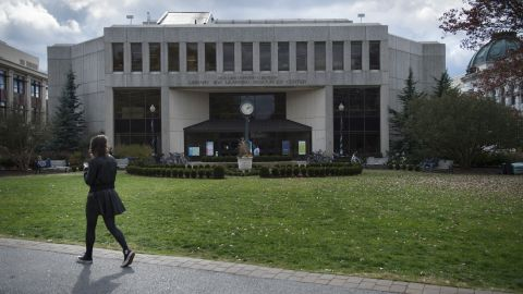 A student walks past the Bender Library on the American University Campus in Washington, D.C., on Wednesday, November 9, 2016.