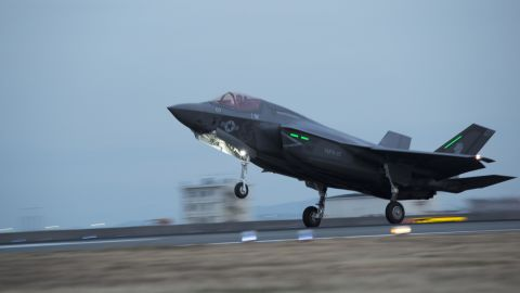MARINE CORPS AIR STATION IWAKUNI, Japan - An F-35B Lightning II with Marine Fighter Attack Squadron 121, lands at Marine Corps Air Station Iwakuni, Japan, Jan. 18, 2017. VMFA-121 conducted a permanent change of station to MCAS Iwakuni, from MCAS Yuma, Ariz., and now belongs to Marine Aircraft Group 12, 1st Marine Aircraft Wing, III Marine Expeditionary Force. The F-35B Lightning II is a fifth-generation fighter, which is the world's first operational supersonic short takeoff and vertical landing aircraft. The F-35B brings strategic agility, operational flexibility and tactical supremacy to III MEF with a mission radius greater than that of the F/A-18 Hornet and AV-8B Harrier II in support of the U.S. -- Japan alliance.