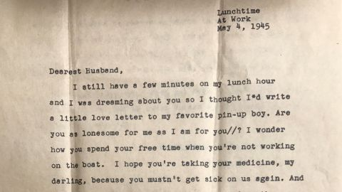 The first page of Virginia Christoffersen's letter, sent to her husband, Rolf.