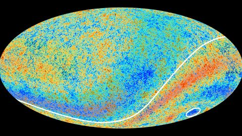 """The circled area in this map of the cosmic microwave background left by the Big Bang is the """"Cold Spot"""" that scientists are investigating."""