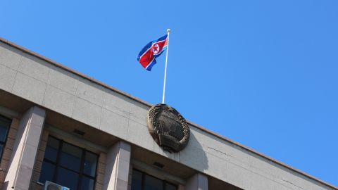 The North Korean flag flies over the country's embassy in Beijing. China is North Korea's most important political and economic ally.