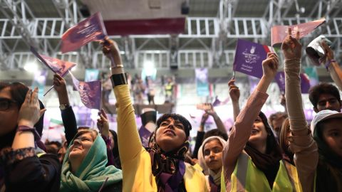 Rouhani supporters chant slogans during a rally in northwest Iran on Tuesday.