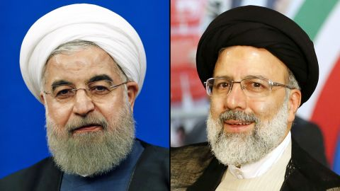 Rouhani (L) and his chief election rival Ebrahim Raisi.