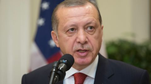 President of Turkey Recep Tayyip Erdogan delivers remarks during a joint statement with US President Donald J. Trump in the Roosevelt Room of the White House on May 16, 2017 in Washington, DC. (Michael Reynolds-Pool/Getty Images)
