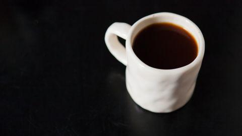 A filled favorite white coffee mug