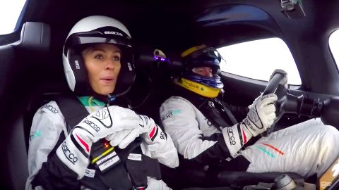 Nicki Shields, presenter of CNN's Sueprcharged show, onboard the EP9 during a test day in January.