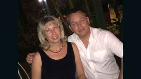 US President Donald Trump has called for the release of Andrew Brunson, right, an American pastor who has been detained in Turkey.