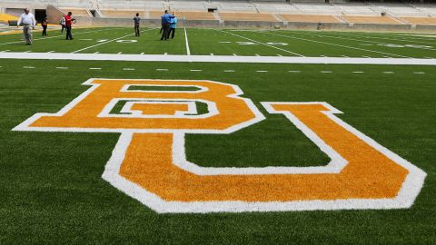 In this Aug. 18, 2014 file photo, media and visitors tour the nearly completed McLane Stadium during a tour at Baylor University in Waco, Texas. The $260 million stadium located near campus on the Brazos river debuts at the end of the month  and replaces the  64-year-old Floyd Casey Stadium.