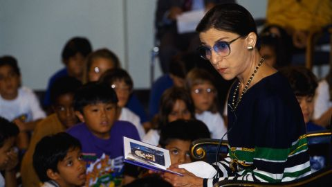 """Ginsburg reads to a group of children at the 10th anniversary of the TV show """"Reading Rainbow"""" in 1993."""