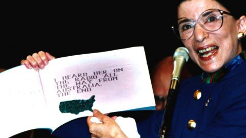 """During her confirmation hearing, Ginsburg holds up a book titled """"My"""