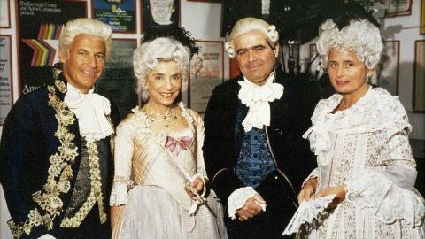 """Ginsburg, second from left, and Scalia, second from right, appeared in the opening-night production of """"Ariadne auf Naxos,"""" an opera at the Kennedy Center in Washington in 1994."""