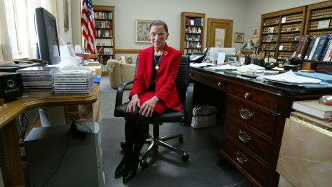 Ginsburg sits in her Supreme Court chambers in 2002.