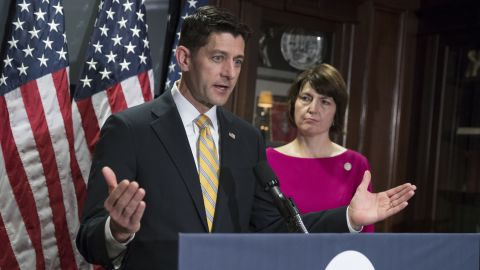 """House Speaker Paul Ryan accompanied by Rep. Cathy McMorris Rodgers takes questions from reporters at Republican National Committee Headquarters in Washington, Wednesday, May 17, 2017. Ryan said Congress """"can't deal with speculation and innuendo"""" and must gather all relevant information before """"rushing to judgment"""" on President Donald Trump's firing of FBI Director James Comey."""