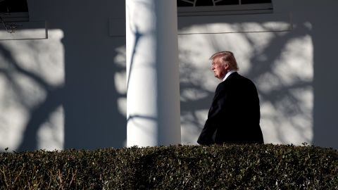 WASHINGTON, DC - JANUARY 26: Upon returning from Philadelphia, President Donald Trump walks along the West Wing Colonnade on his way to the Oval Office at the White House, January 26, 2017 in Washington, DC. President Trump traveled to Philadelphia for the Joint GOP Issues Conference. (Photo by Drew Angerer/Getty Images)