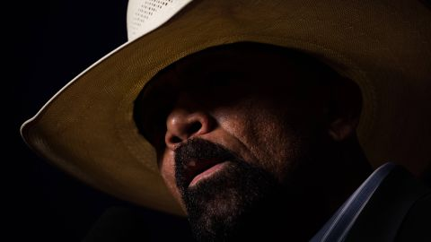 """Milwaukee County Sheriff David Clarke speaks at a Trump rally in Green Bay, Wisconsin, on October 17, 2016. He claimed that the presidential election was rigged and that it was """"pitchfork and torches time in America."""""""