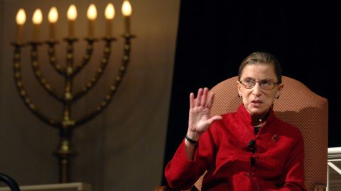 """Ginsburg talks with filmmaker David Grubin about his PBS series """"The Jewish Americans"""" in 2008."""