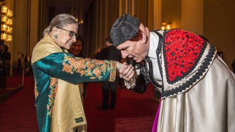 """Ginsburg, with an extra from """"Carmen,"""" attends the opera at the Kennedy Center in Washington in October 2015."""
