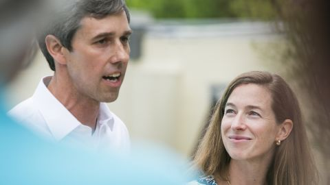 Rep. Beto O'Rourke (D-TX), with wife Amy Hoover Sanders by his side, holds a fundraiser at the Austin Motel on April 1, 2017 in Austin, Texas.