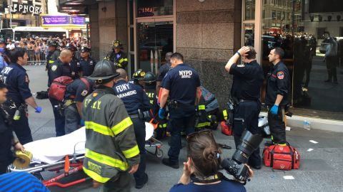 """A victim is attended to in this photo <a href=""""https://twitter.com/FDNY/status/865244909602836482"""" target=""""_blank"""" target=""""_blank"""">tweeted</a> by the New York City Fire Department."""