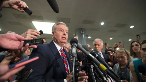 U.S. Sen. Lindsey Graham speaks to the media after the closed briefing May 18, 2017 on Capitol Hill in Washington, DC. Rosenstein participated in a closed briefing for senators to discuss the removal of former FBI Director James Comey.