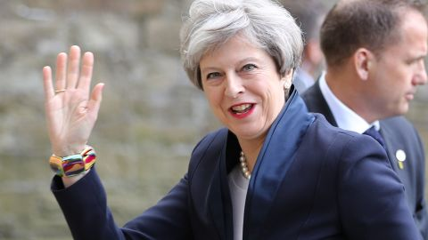 UK Prime Minister Theresa May arrives at the launch of the Conservative Party's Election Manifesto, in Halifax, on May 18, 2017.