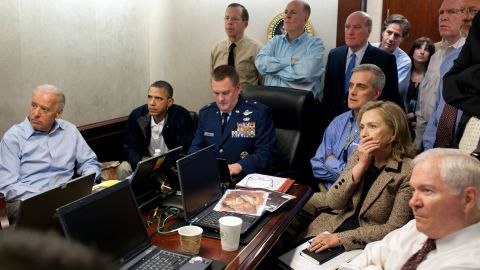 Obama and members of his national security team monitor the mission against Osama bin Laden on May 1, 2011. Bin Laden was killed when Navy SEALs conducted a raid at a compound in Pakistan. <em>(Editor's note: The classified document in front of Hillary Clinton was obscured by the White House.)</em>