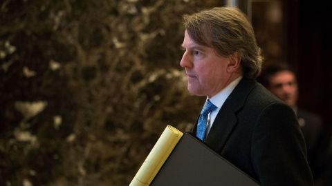 NEW YORK, NY - JANUARY 9: Don McGahn, White House Counsel to President-elect Donald Trump, arrives at Trump Tower, January 9, 2017 in New York City.