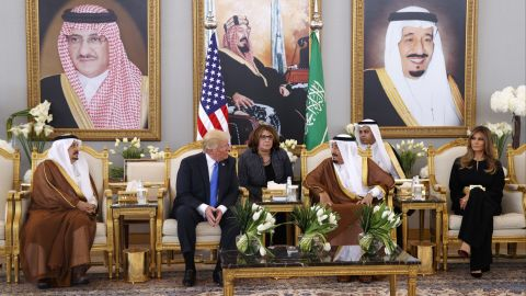 Trump meets with King Salman after arriving in Riyadh on May 20.