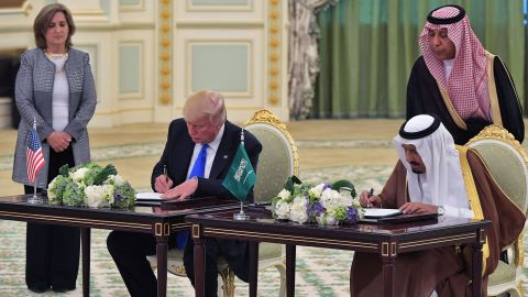 """Trump and King Salman take part in a signing ceremony at the Saudi Royal Court in Riyadh on May 20. The two leaders oversaw <a href=""""http://www.cnn.com/2017/05/20/politics/donald-trump-middle-east/"""" target=""""_blank"""">the signing of a defense deal</a> worth nearly $110 billion."""