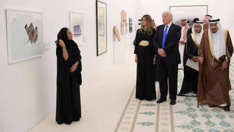 The Trumps look at a display of modern art at the Saudi Royal Court in Riyadh.