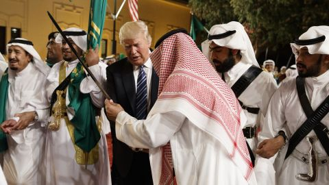 Trump is handed a sword during a welcoming ceremony at Riyadh's Murabba Palace on Saturday, May 20.