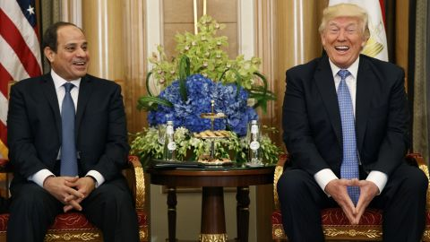 """President Trump and Egyptian President Abdel Fattah el-Sisi share a laugh during a meeting on May 21. El-Sisi complimented Trump on his """"unique personality that is capable of doing the impossible."""" Trump exchanged pleasantries back, <a href=""""http://www.cnn.com/2017/05/21/politics/trump-abdel-fattah-al-sisi-shoes/"""" target=""""_blank"""">praising el-Sisi's shoes.</a>"""
