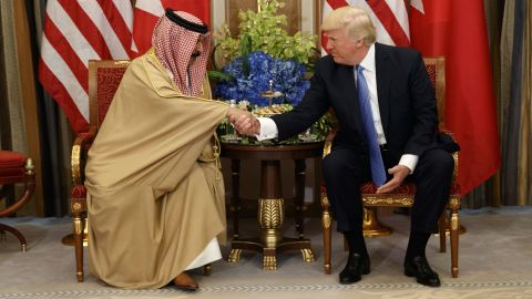 While in Riyadh, President Trump meets with Bahrain's King Hamad bin Isa Al Khalifa on May 21.