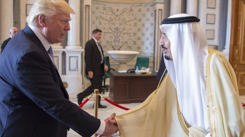 """Saudi King Salman shakes hands with Trump on May 21. Trump is the first US president <a href=""""http://www.cnn.com/2017/05/19/world/donald-trump-first-foreign-presidential-trips/"""" target=""""_blank"""">to start his first foreign trip in the Middle East.</a>"""
