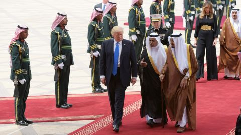 Trump is welcomed by King Salman after arriving at the King Khalid International Airport in Riyadh.