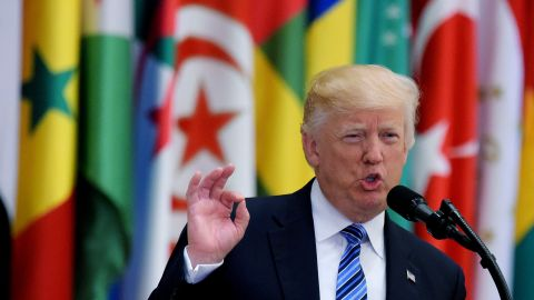 US President Donald Trump speaks during the Arabic Islamic American Summit at the King Abdulaziz Conference Center in Riyadh on May 21, 2017.